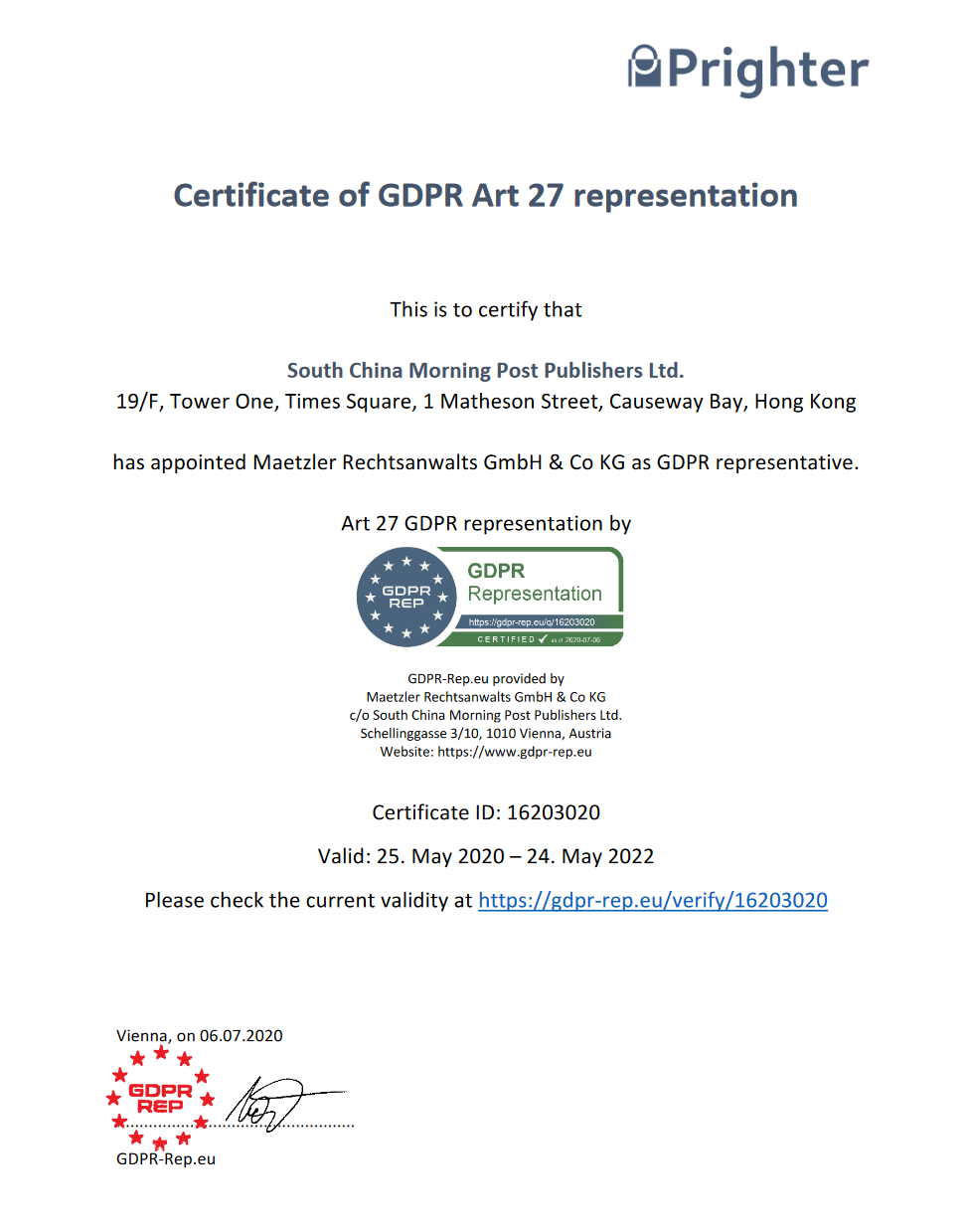 GDPR Compliance Certificate