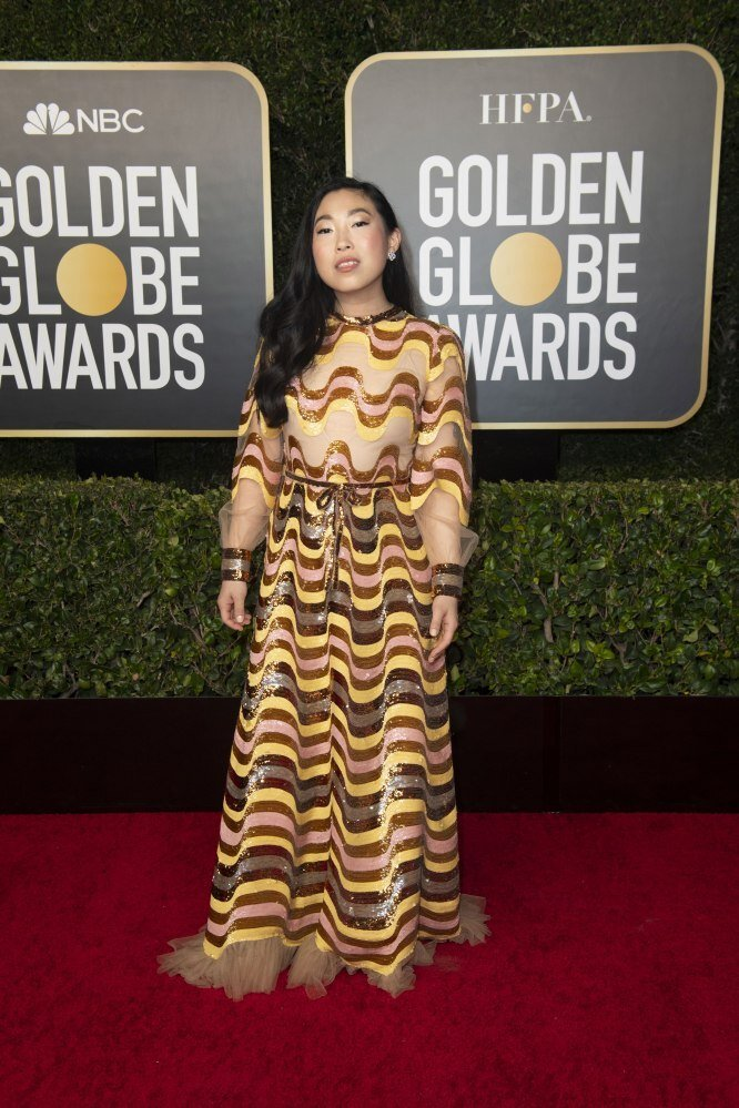Awkwafina arriving for the annual Golden Globe awards ceremony at the Beverly Hilton Hotel in Beverly Hills, California, USA. Photo: EPA/EFE/HFPA