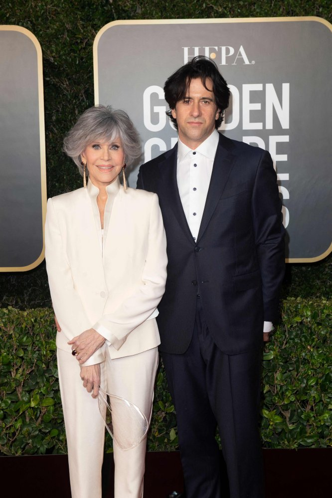 Jane Fonda and her son Troy Garity arriving for the annual Golden Globe Awards in Beverly Hills, California, USA. Photo: HFPA/AFP