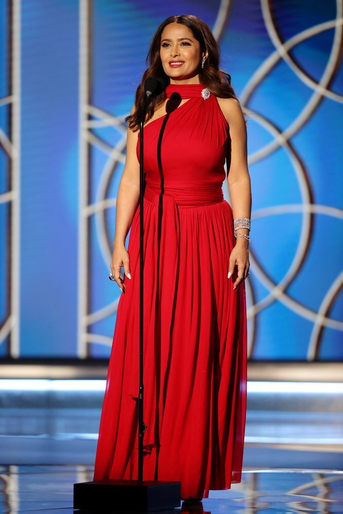 Salma Hayek onstage at the annual Golden Globe awards in Beverly Hills, California, USA. Photo: NBC via Reuters