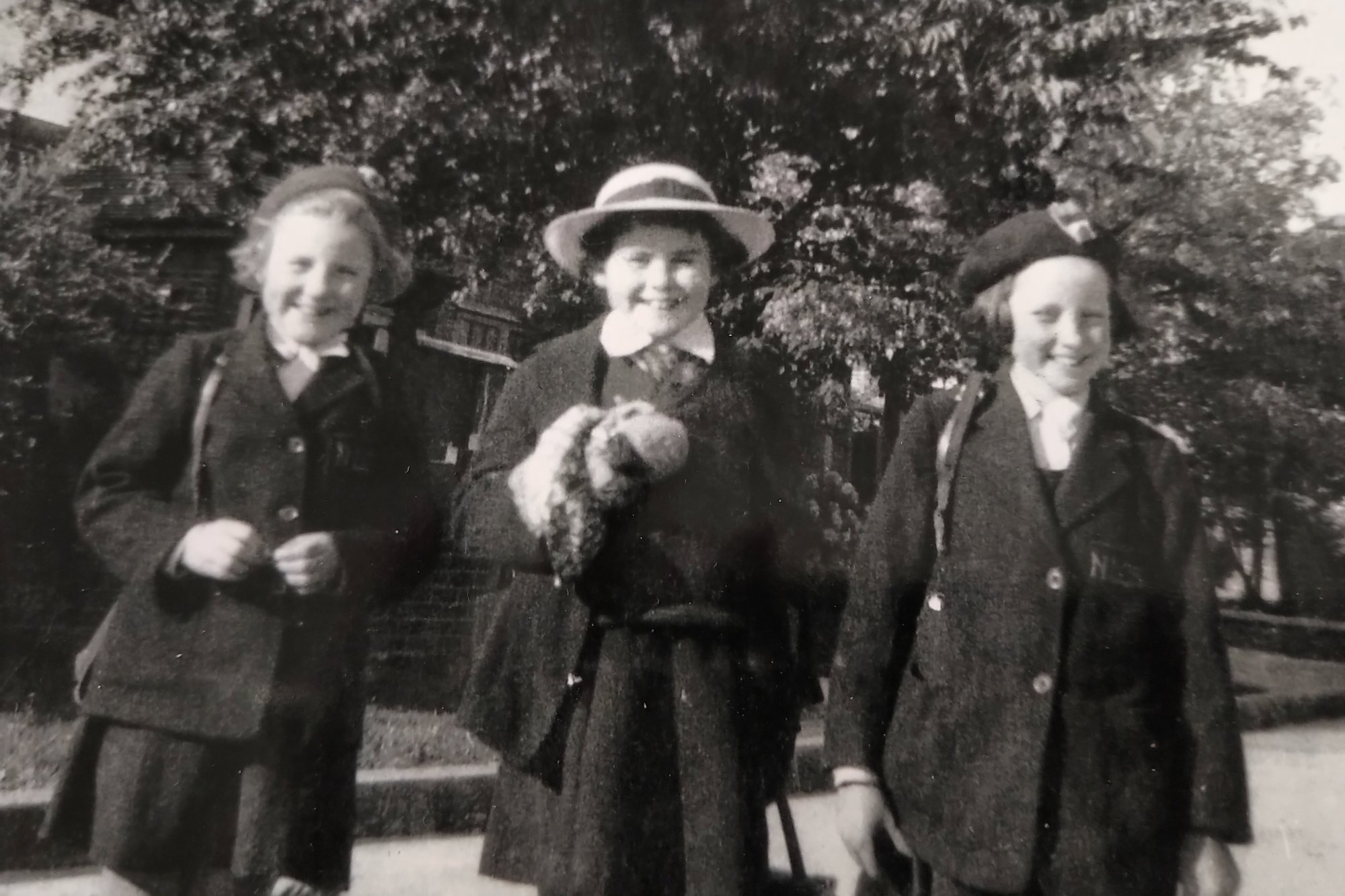 Goodwin (centre) while at school in Britain. Photo: courtesy of Elaine Goodwin