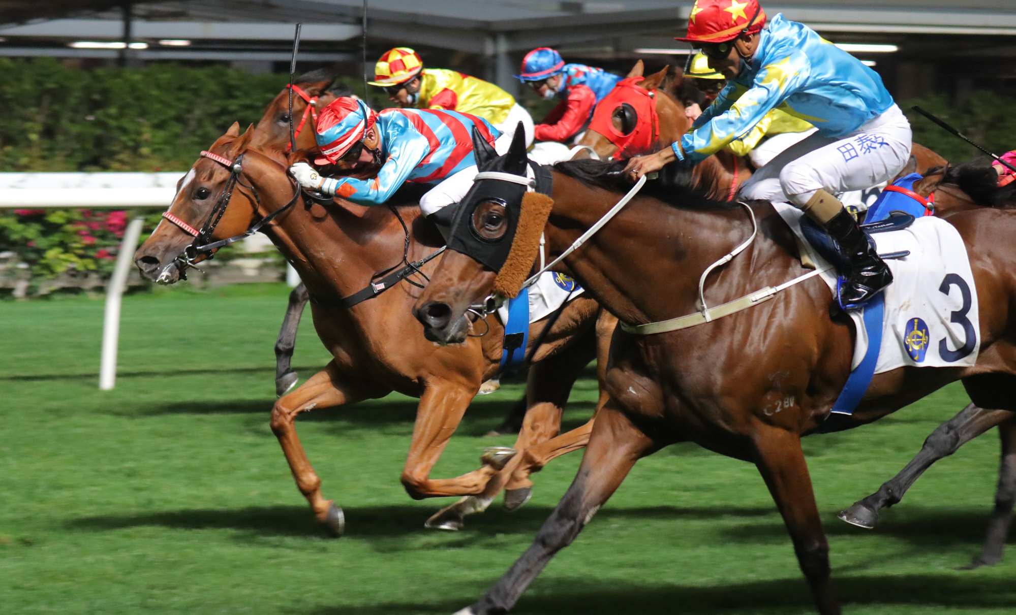 Ruan Maia drives Bulletproof through to win at Happy Valley on Wednesday night.