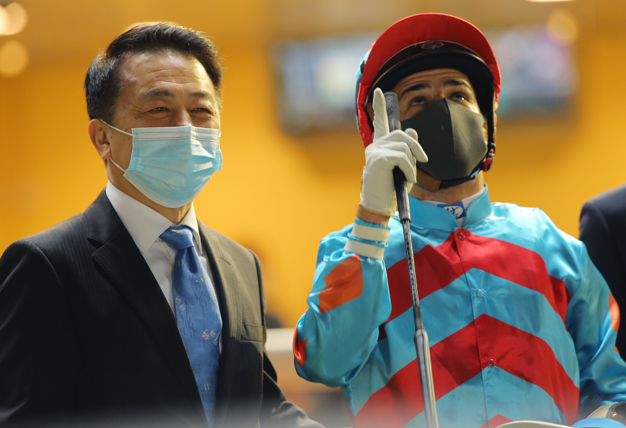 Ricky Yiu and Ruan Maia celebrate the win.