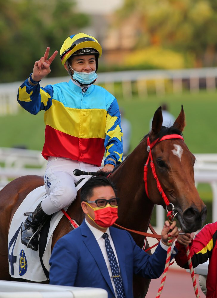 Derek Leung celebrates his victory aboard Good View Clarico.