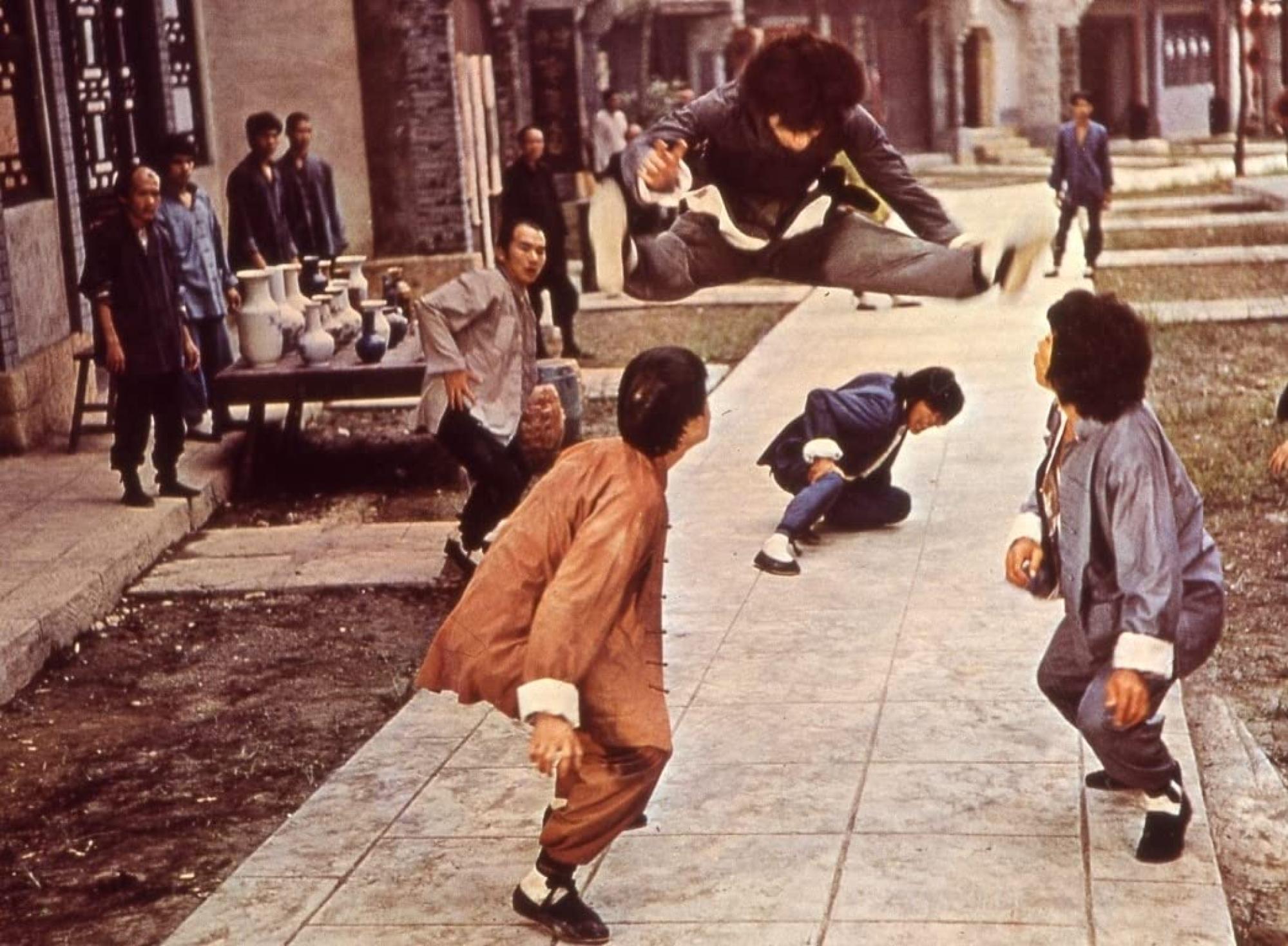 Chan (top) in a still from Shaolin Wooden Men (1976).