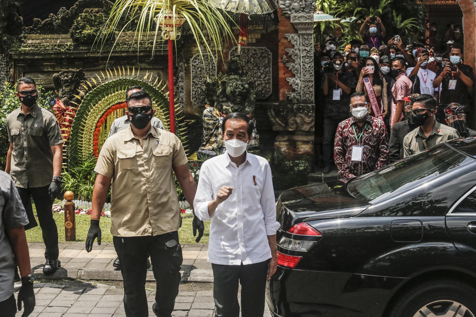 Indonesian President Joko Widodo arrives in Ubud, Bali, on March 16. Photo: Getty Images