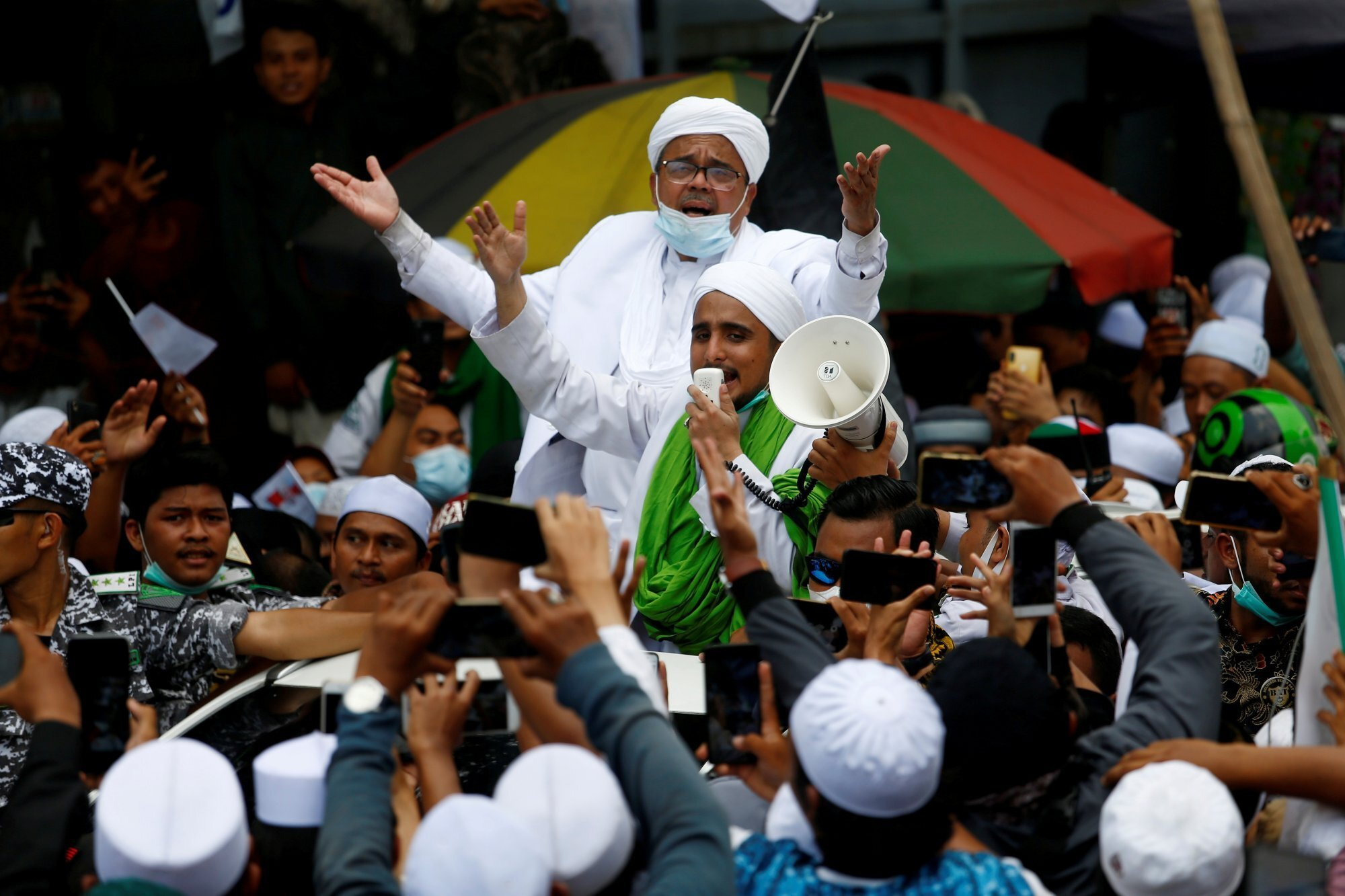 Rizieq Shihab, the leader of the banned Islamic Defenders Front (FPI), was arrested last year for violating Covid-19 rules. Photo: Reuters