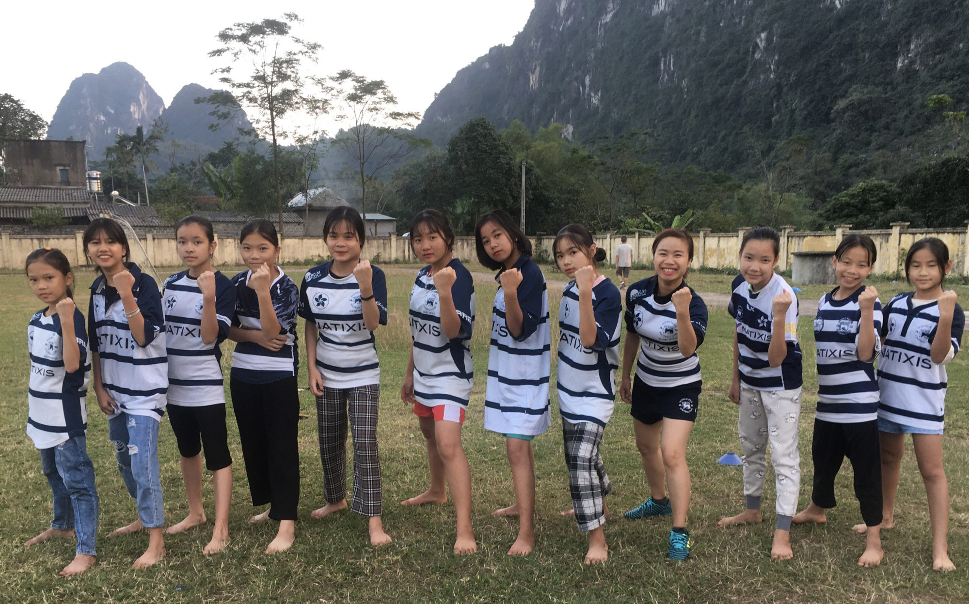 Young rugby players from Vietnam with their new Hong Kong Football Club jerseys in Hoa Binh province, near Hanoi. Photo: ChildFund Rugby