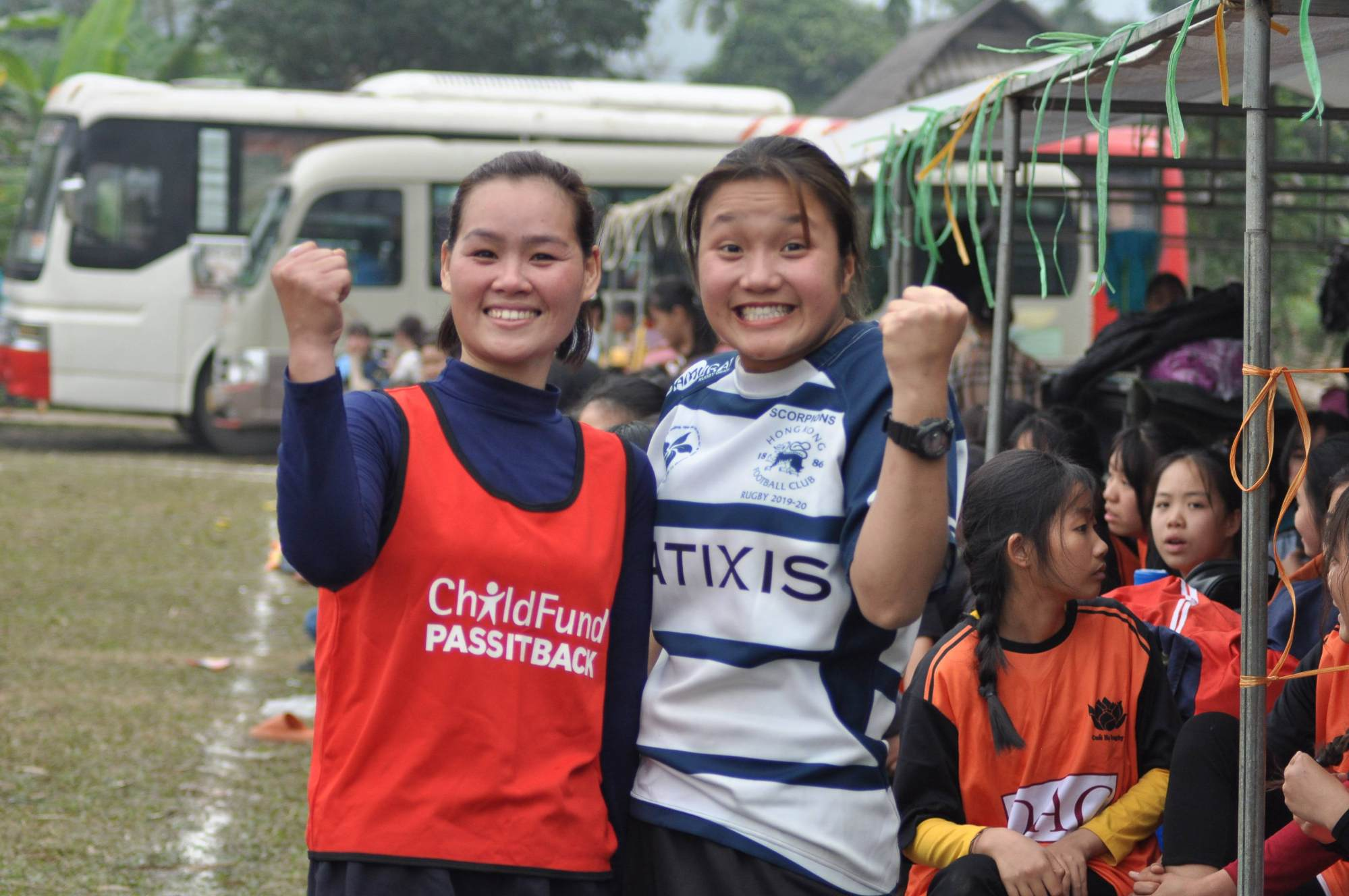 Young players wearing their Hong Kong Football Club rugby jerseys in Hoa Binh province. Photo: ChildFund Rugby