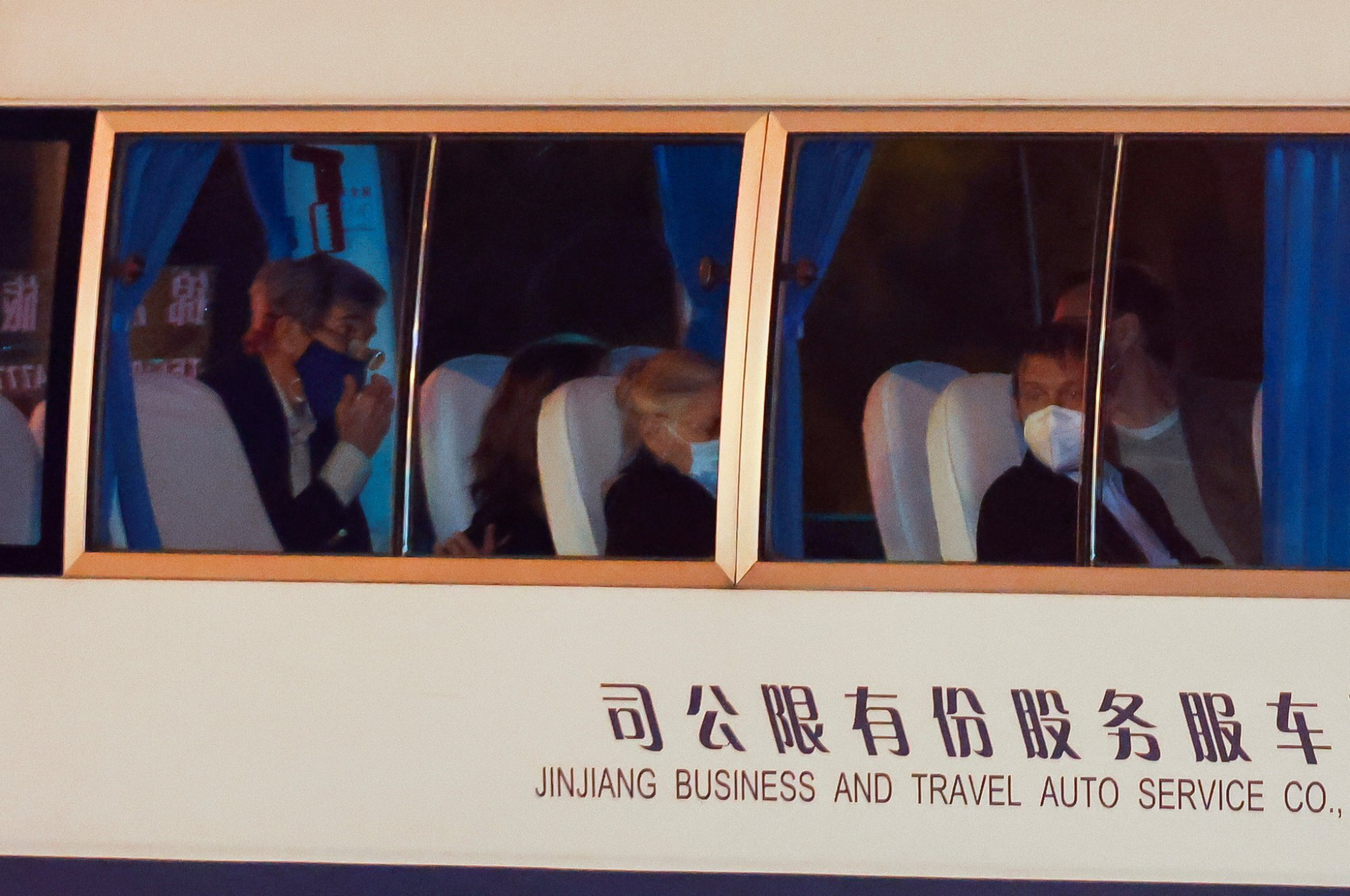 A vehicle with John Kerry on board arrives at a state guest hotel in Shanghai. Photo: Reuters