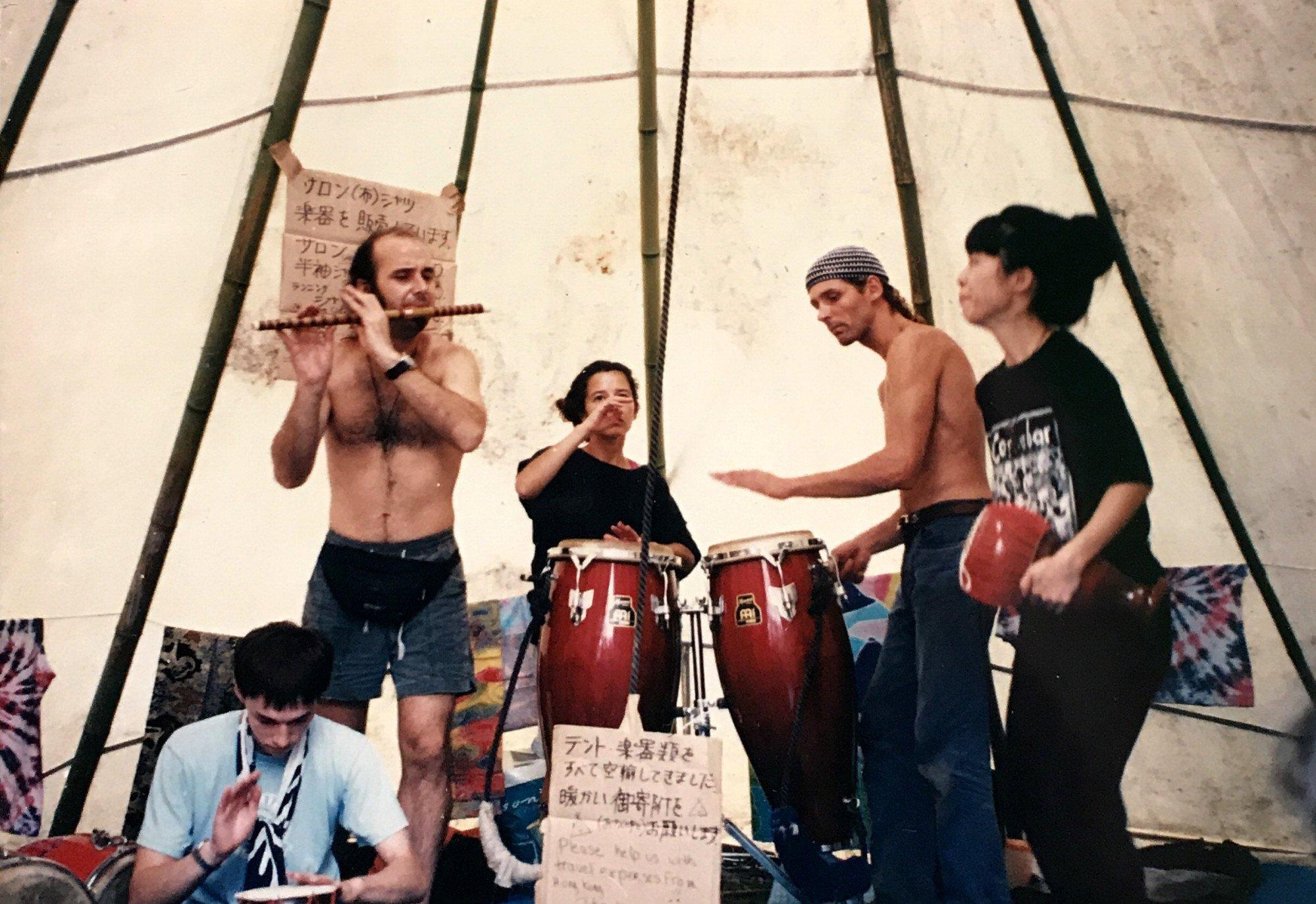 Masunaga (right) at the Earth Celebration music festival in Japan, in 1993. Photo: Kumi Masunaga