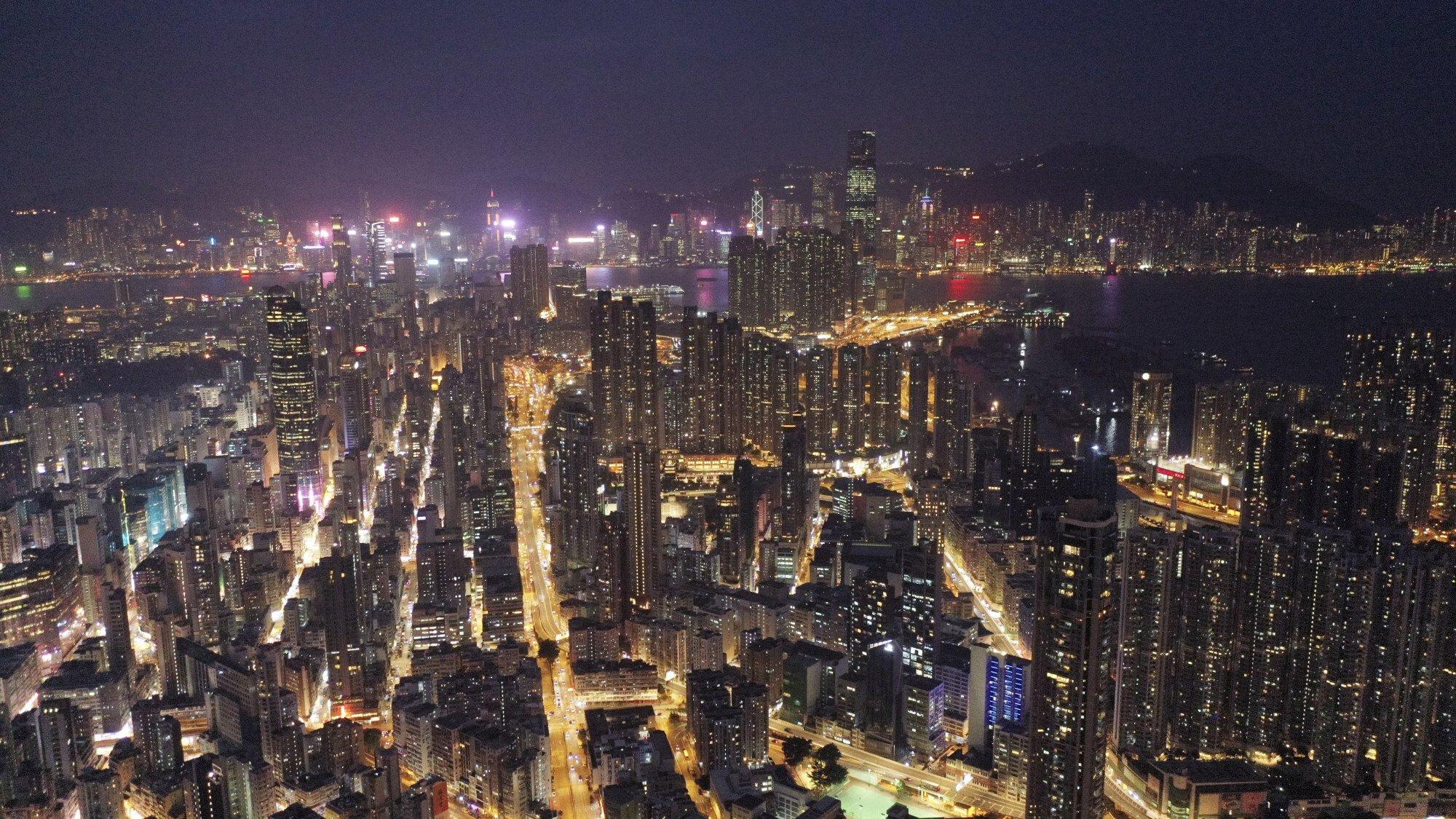 A night view of Kowloon district and Hong Kong Island. Photo: Sam Tsang