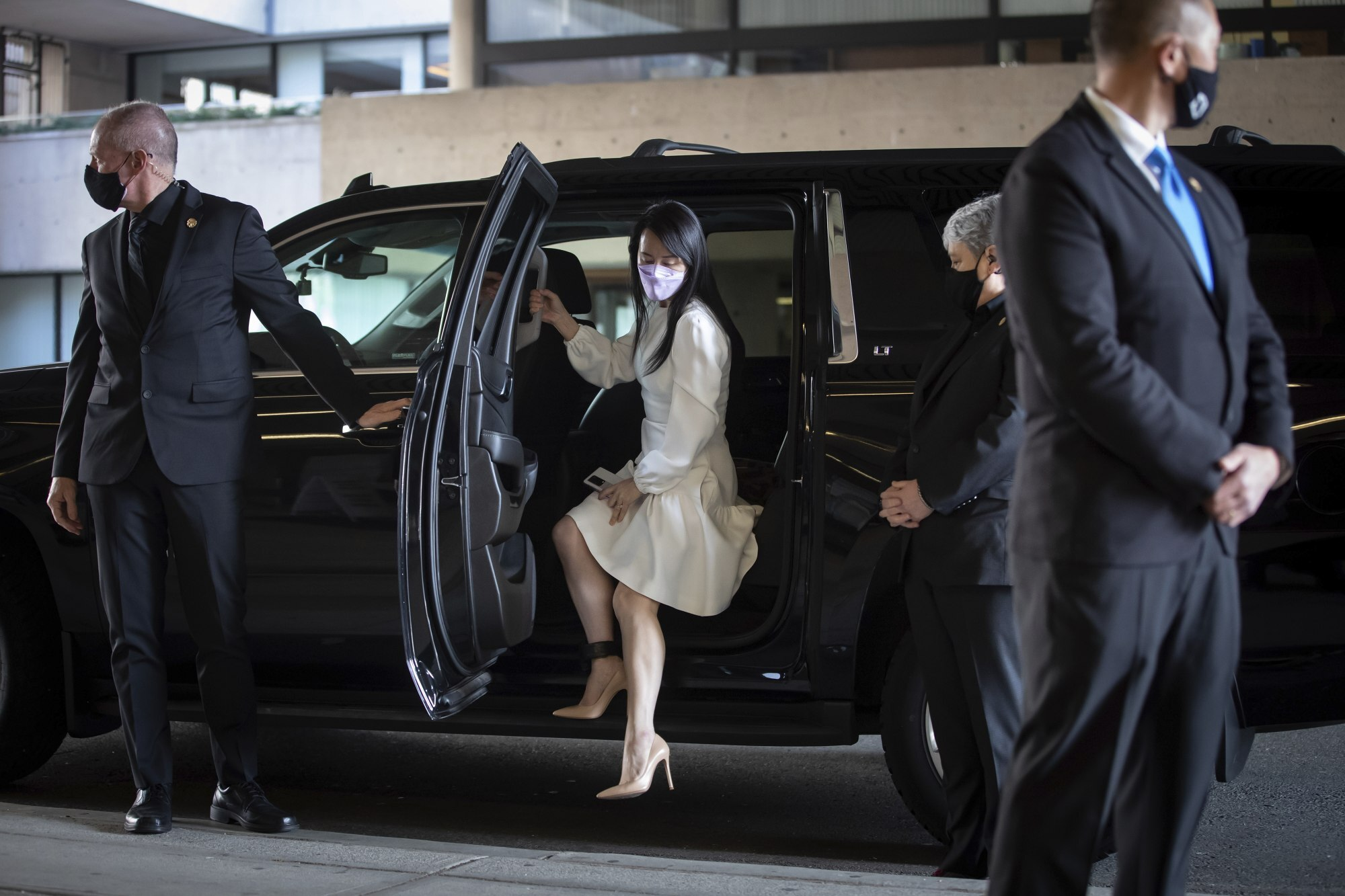 Meng Wanzhou, chief financial officer of Huawei, arrives at the Supreme Court of British Columbia in Vancouver to attend a hearing on March 31. Photo: The Canadian Press via AP