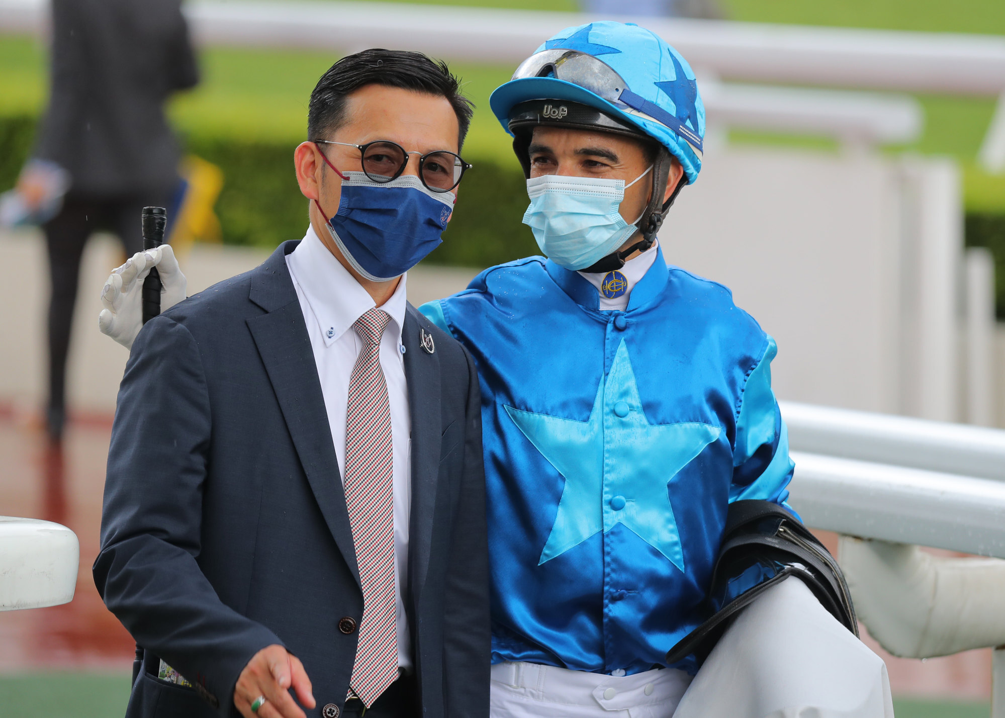 Trainer Frankie Lor and jockey Joao Moreira celebrate Master Eight's victory.