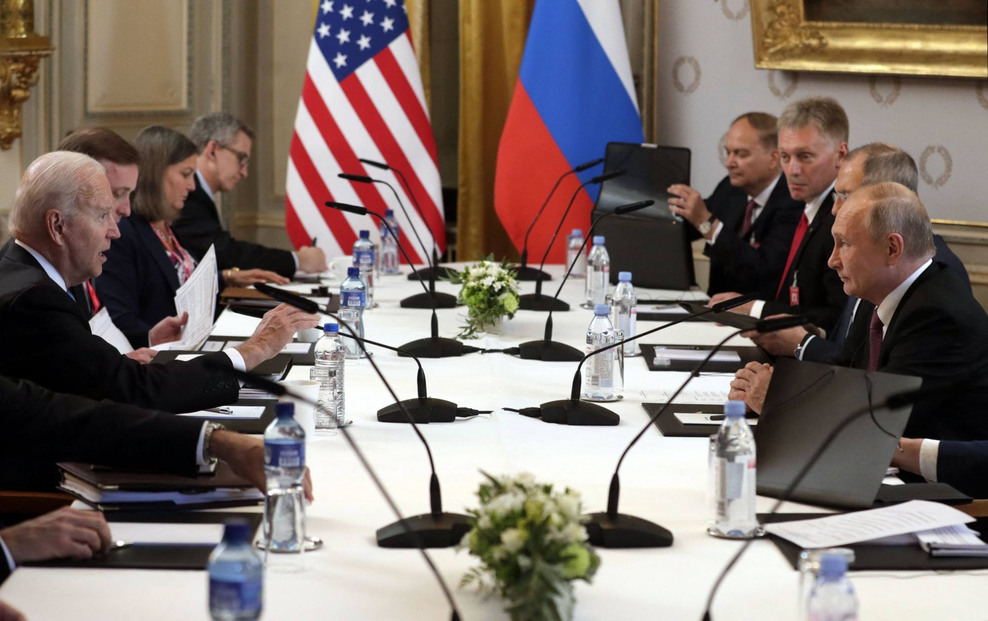 The two delegations at the Villa la Grange in Geneva on Wednesday. Photo: Sputnik/AFP