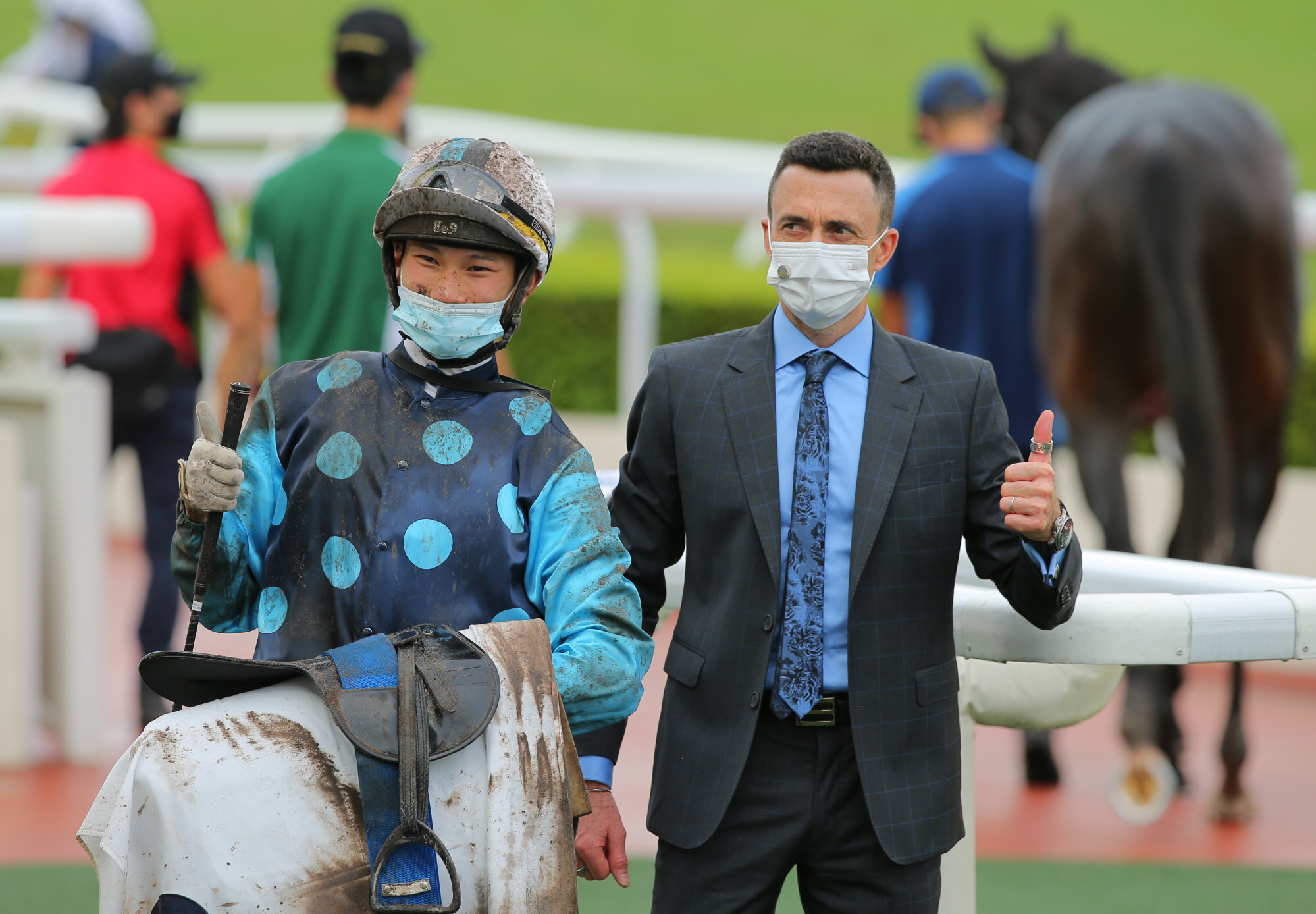 Jockey Jerry Chau and trainer Douglas Whyte celebrate Will Power's victory last weekend.