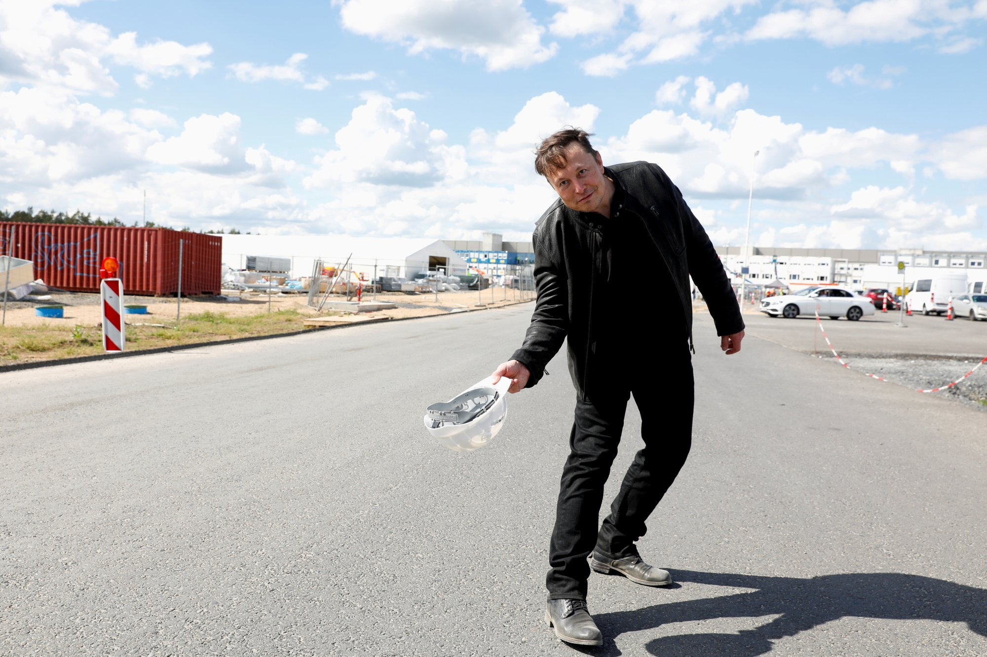 Tesla CEO Elon Musk visits the construction site of Tesla's gigafactory in Gruenheide, near Berlin, Germany, on May 17. Musk became the world's richest person following the surge in Tesla's share price. Photo: Reuters