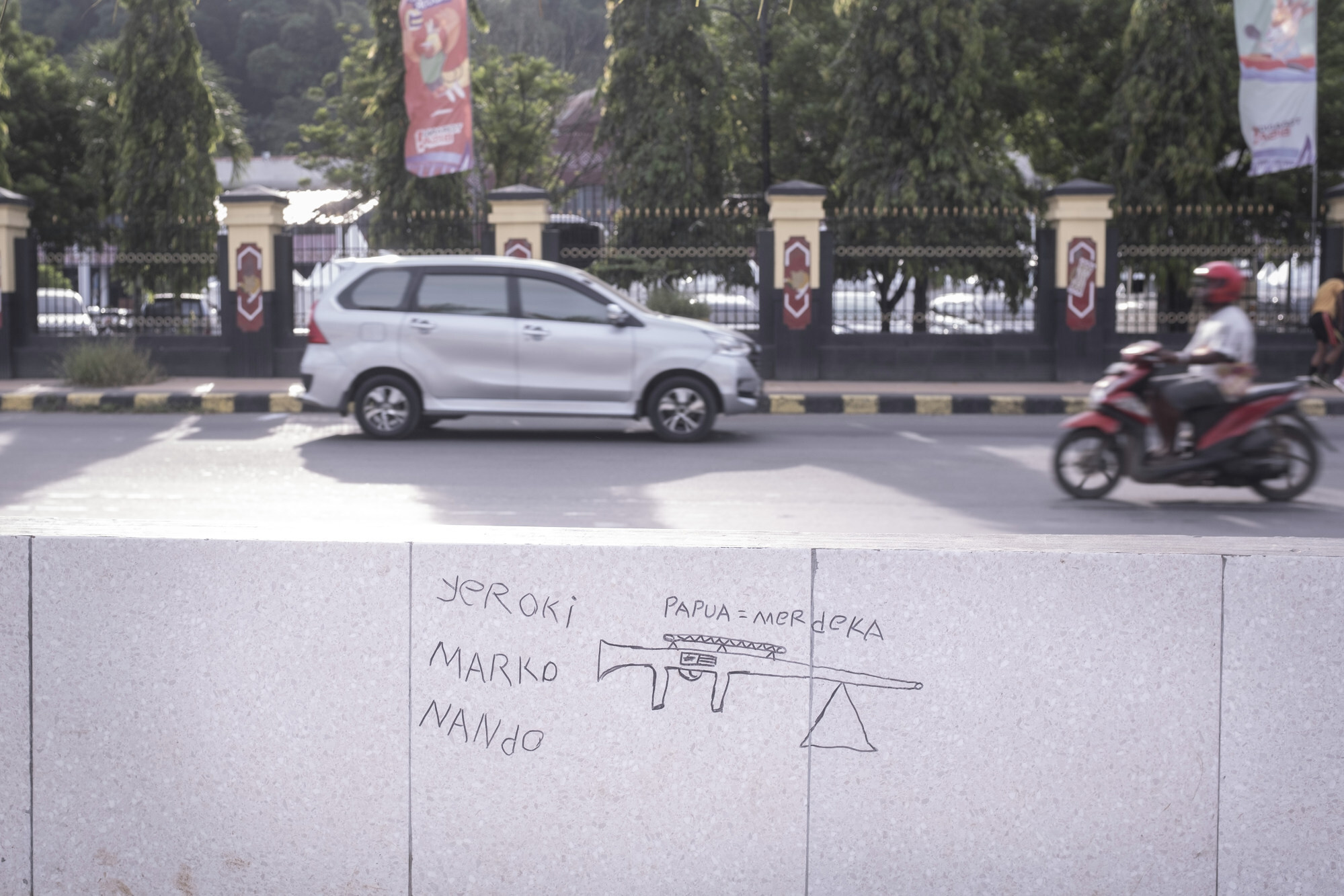 Papuan separatist Graffiti in front of the governor's office complex. Photo: Albertus Vembrianto