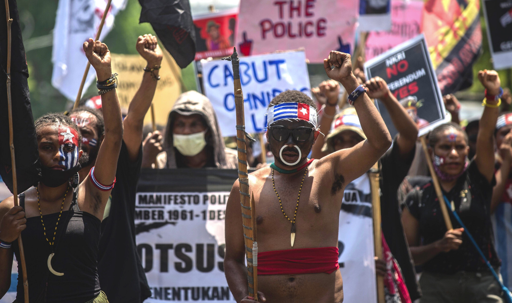Papuan activists attend a protest in Surabaya in December 2020 to call for independence. Photo: AFP