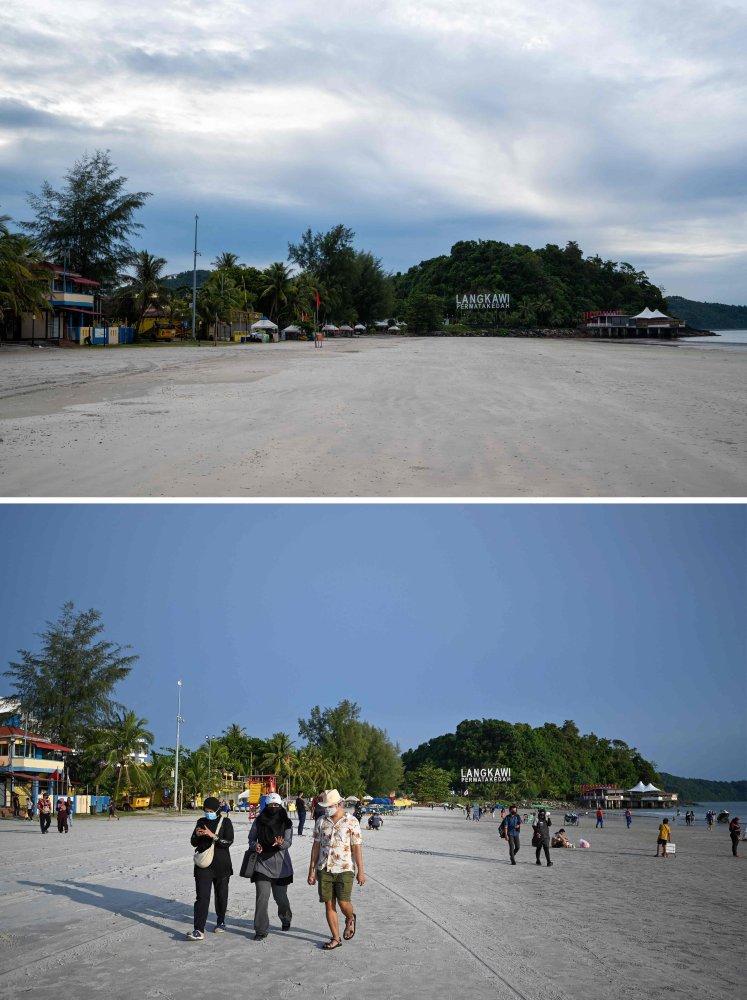 Pantai Cenang, in Langkawi in November, 2020 (top), and the same view in late September, 2021. Photo: AFP