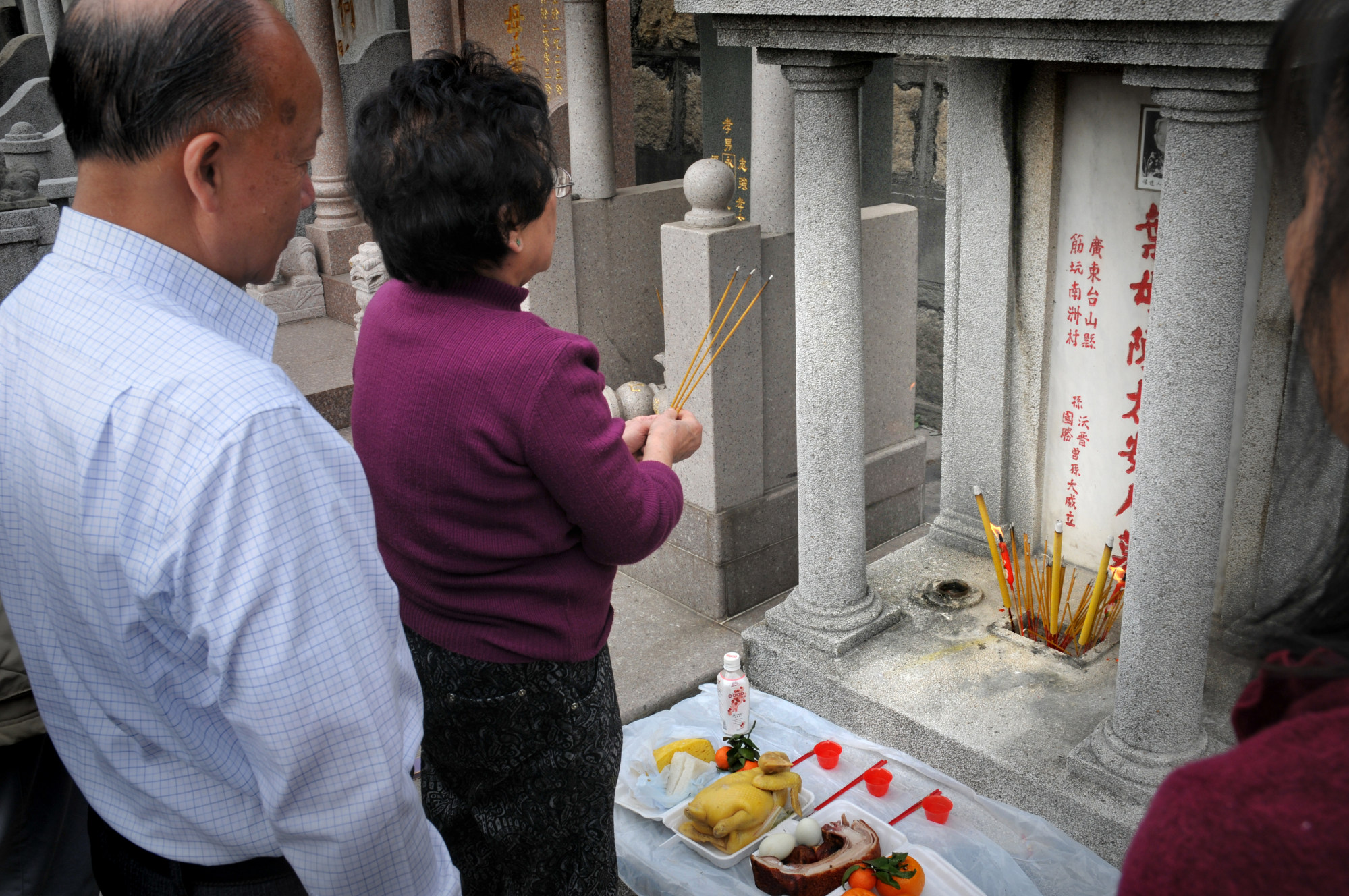 People may visit the graves of their ancestors to ask for blessings during the festival.