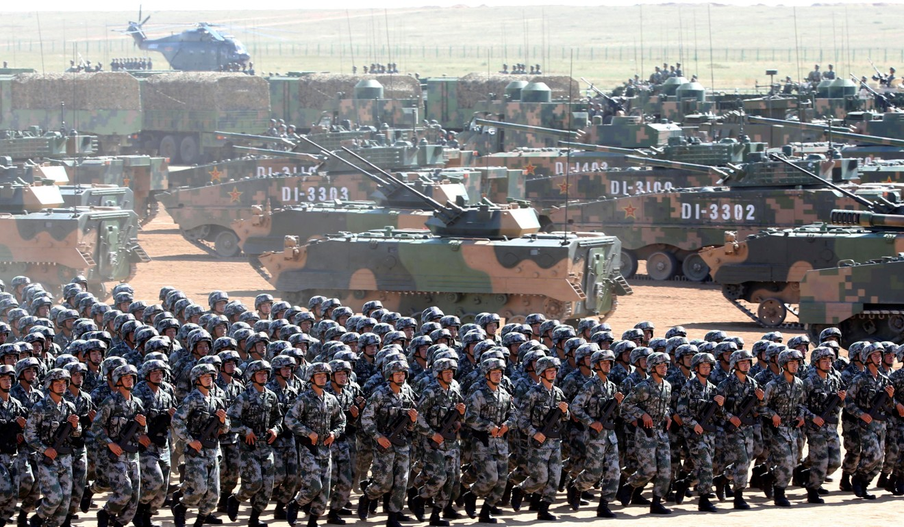 Soldiers from the People's Liberation Army at a parade in Inner Mongolia in 2017. Photo: Reuters