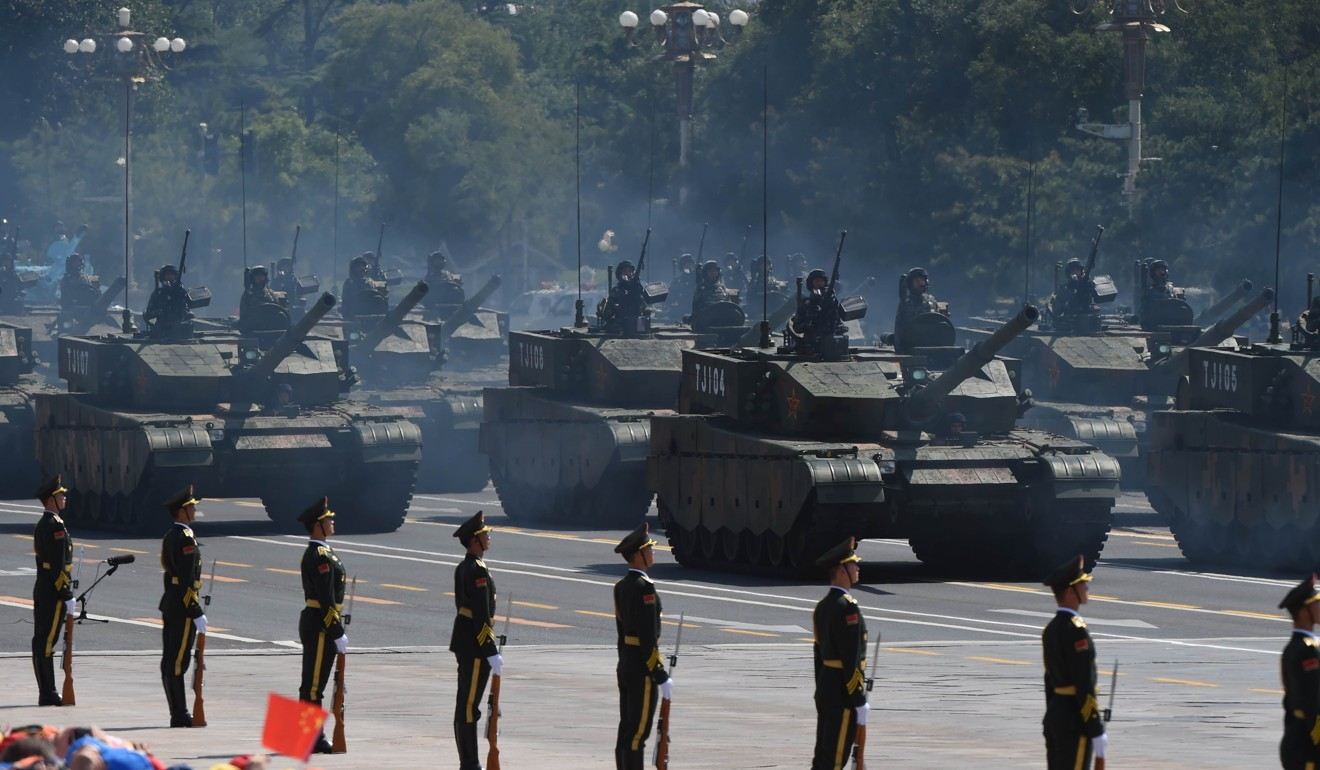 Battle tanks parade in Tiananmen Square in Beijing in 2015 at an event to commemorate victory over Japan in the second world war. Photo: AFP