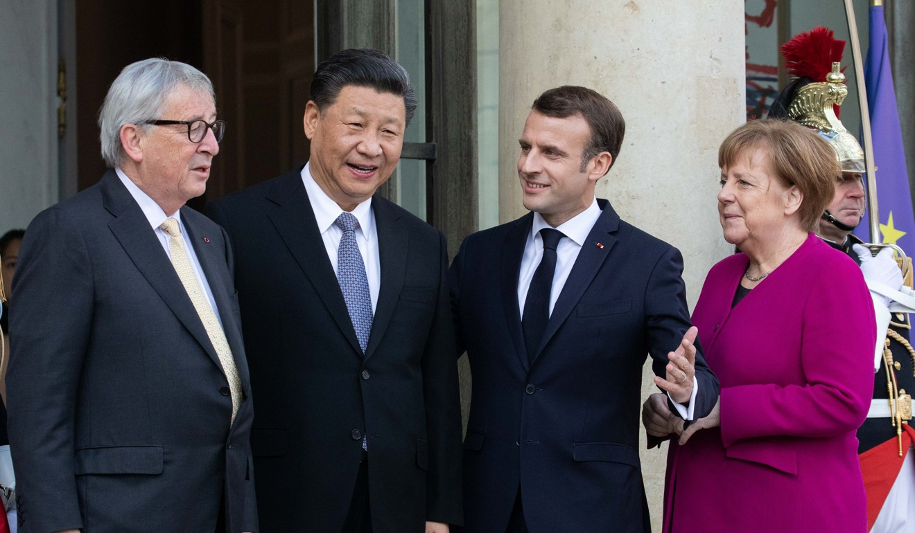French President Emmanuel Macron invited Jean-Claude Juncker and Angela Merkel to a meeting in Paris with Xi Jinping. Photo: Bloomberg