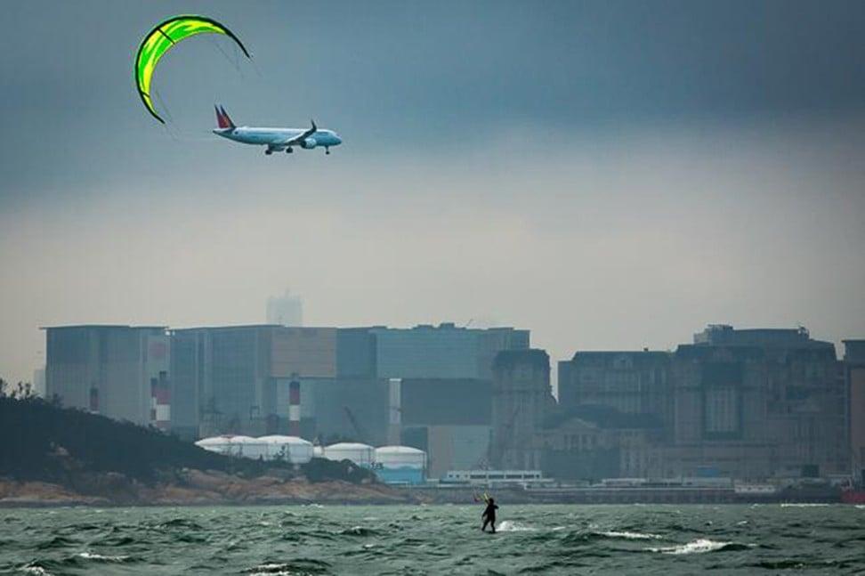 Kitesurfer Siu nears Macau on her March 1 journey. Photo: Scott Clotworthy