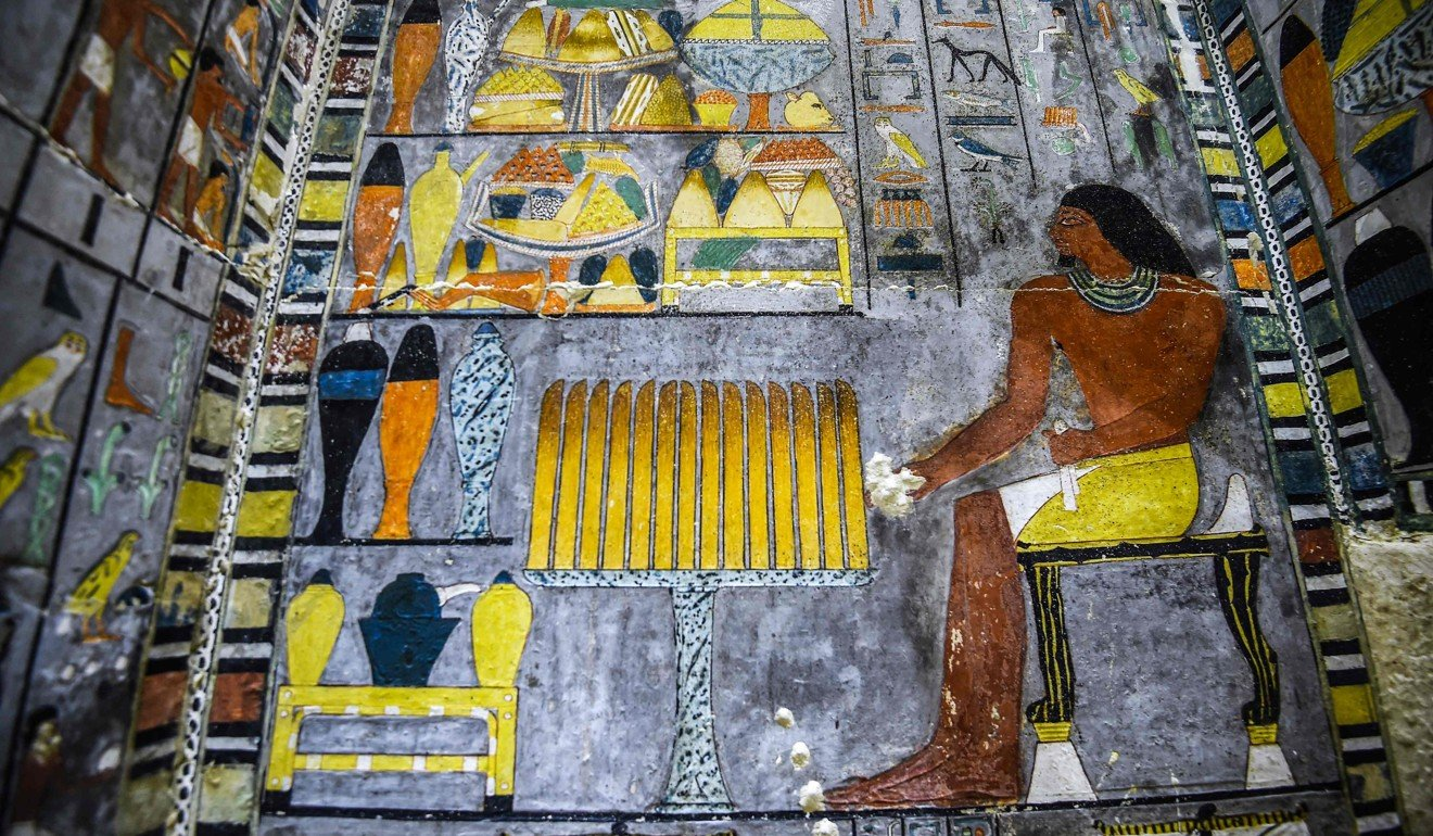 A detail of one of the walls from inside the tomb. Photo: AFP