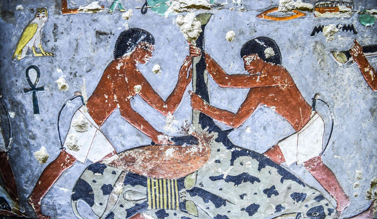 Another detail from a tomb painting. Photo: AFP