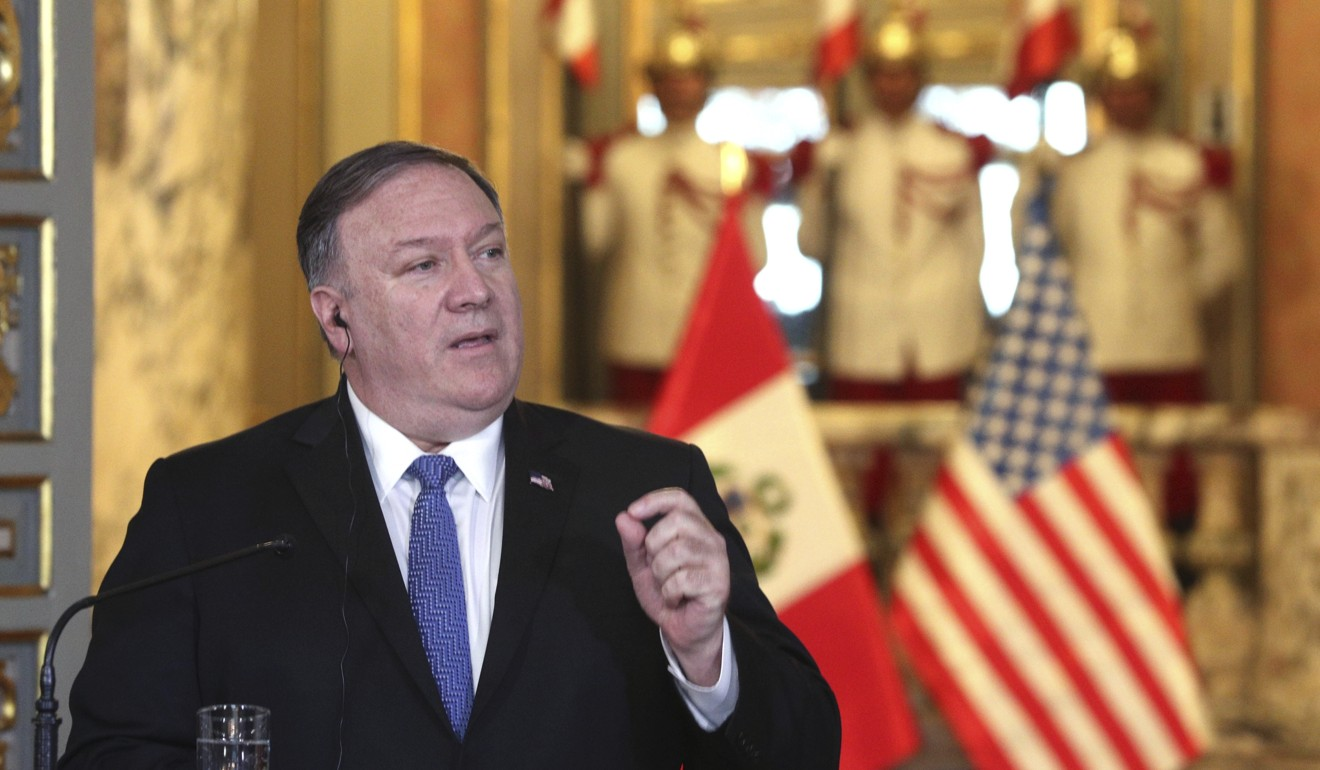 "US Secretary of State Mike Pompeo said Chinese financial intervention in Venezuela had ""helped destroy"" the country. Photo: AP"