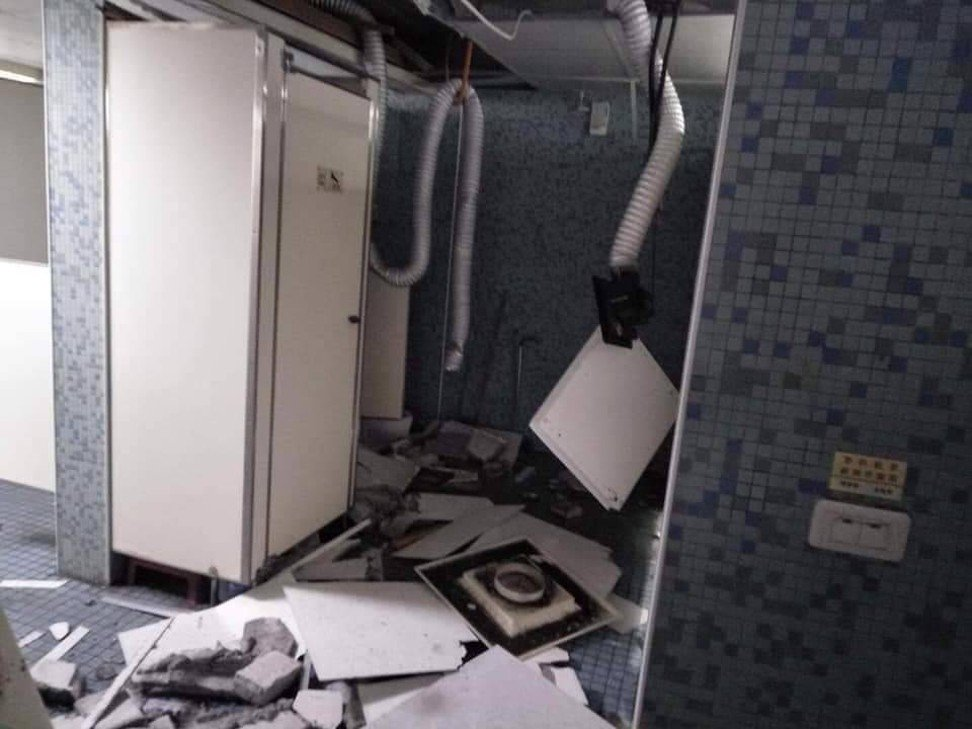 A bathroom at a Taiwan Normal University dormitory in Taipei was damaged in Thursday's quake. Photo: Handout
