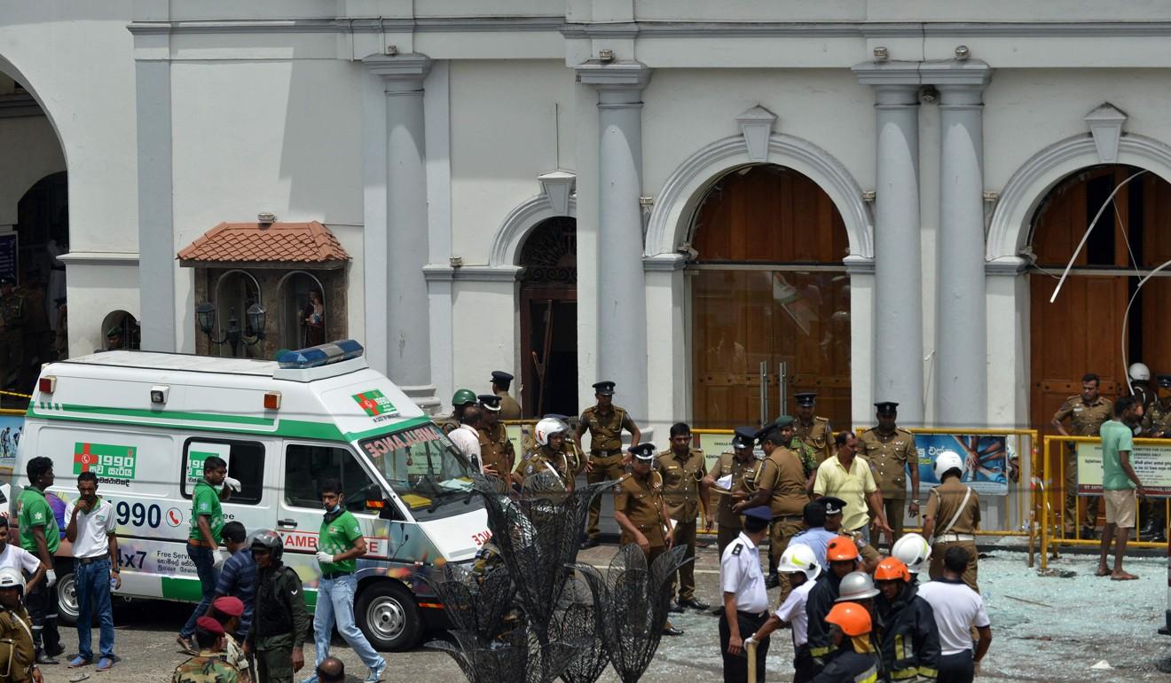 An ambulance outside St Anthony's Shrine in Kochchikade, Colombo. Photo: Agence France-Presse