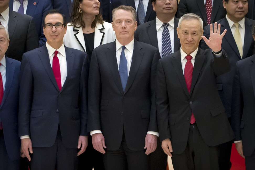 Chinese Vice-Premier Liu He (right), US Treasury Secretary Steven Mnuchin (left) and US Trade Representative Robert Lighthizer will resume their trade talks in Beijing on Tuesday. Photo: AP