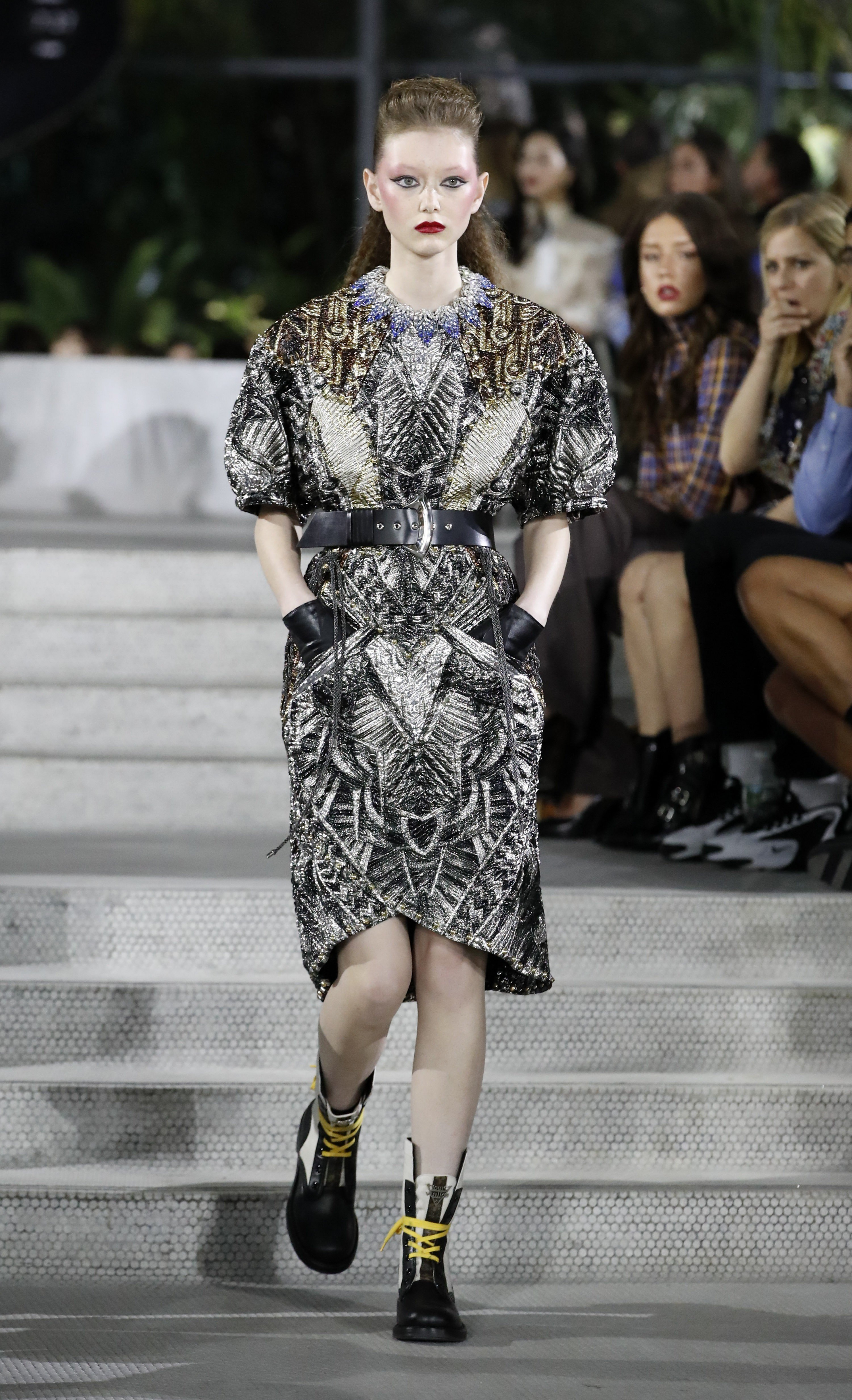 Jennifer Connelly, Emma Stone and Cate Blanchett pose at JFK for Louis Vuitton's cruise show