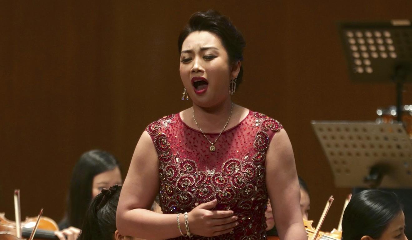 North Korean soprano singer Kim Song Mi performs on Sunday. Photo: AP