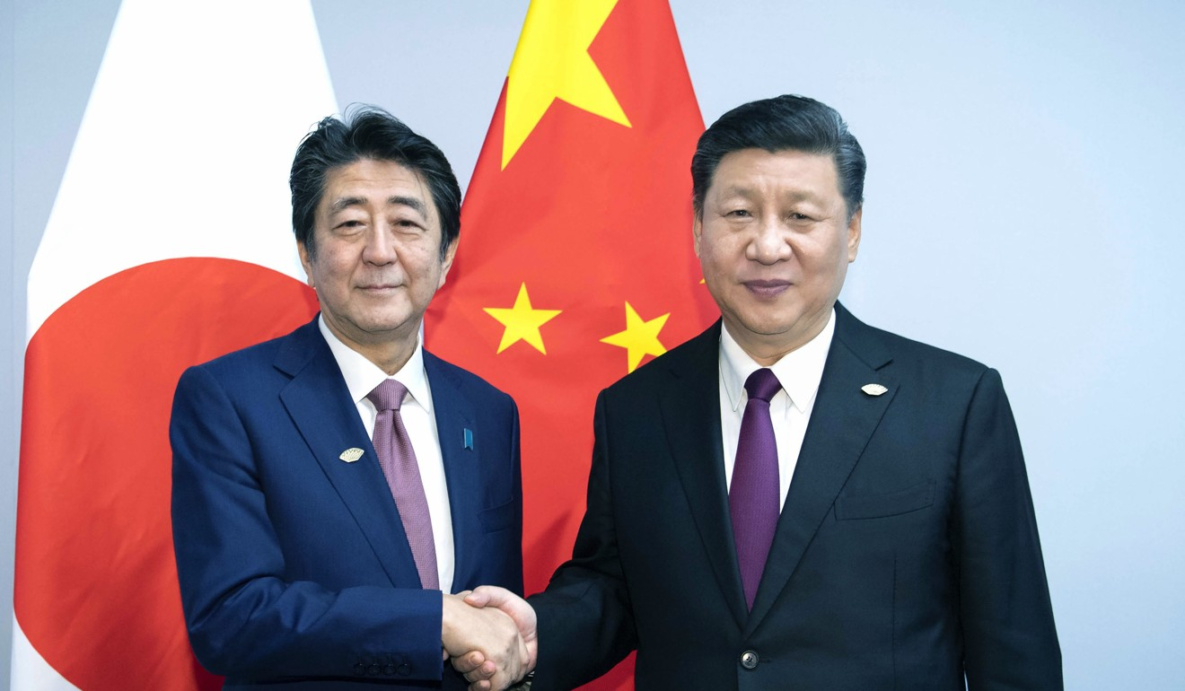 Chinese President Xi Jinping and Japanese Prime Minister Shinzo Abe pictured at the G20 summit in Argentina last year. Photo: AP
