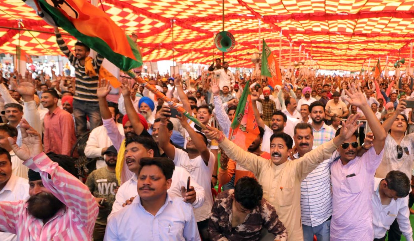 People attend a rally for Deol on the day he filed his nomination at Gurdaspur. Photo: Handout