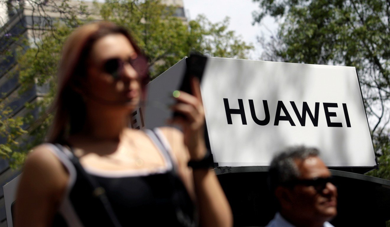A Huawei company logo at a bus stop in Mexico City. Photo: Reuters