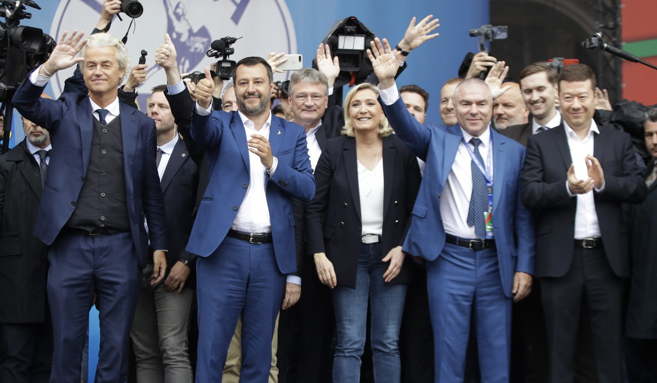 Right-wing populist leaders pictured at the rally on Saturday. Photo: AP