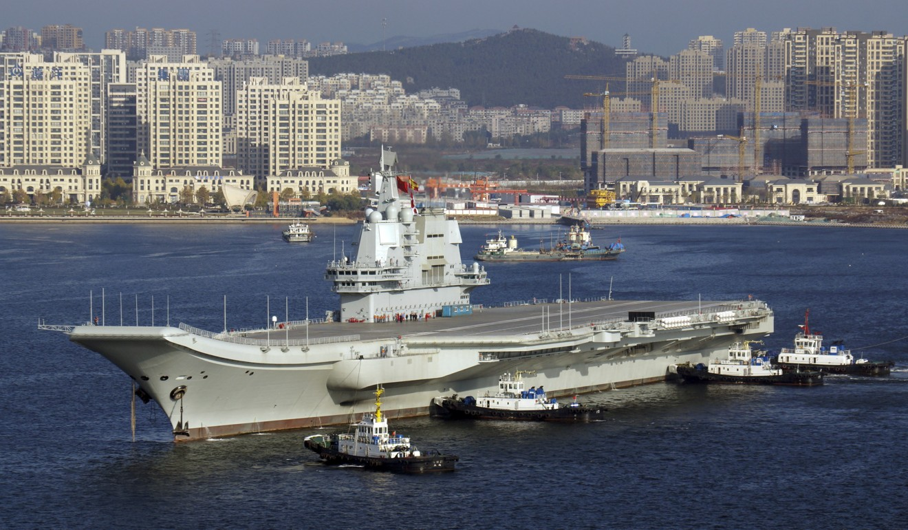 "China's Type 001A aircraft carrier has a ""ski jump"" that aircraft like the J-15 fighters use for take-off. Photo: Imaginechina"
