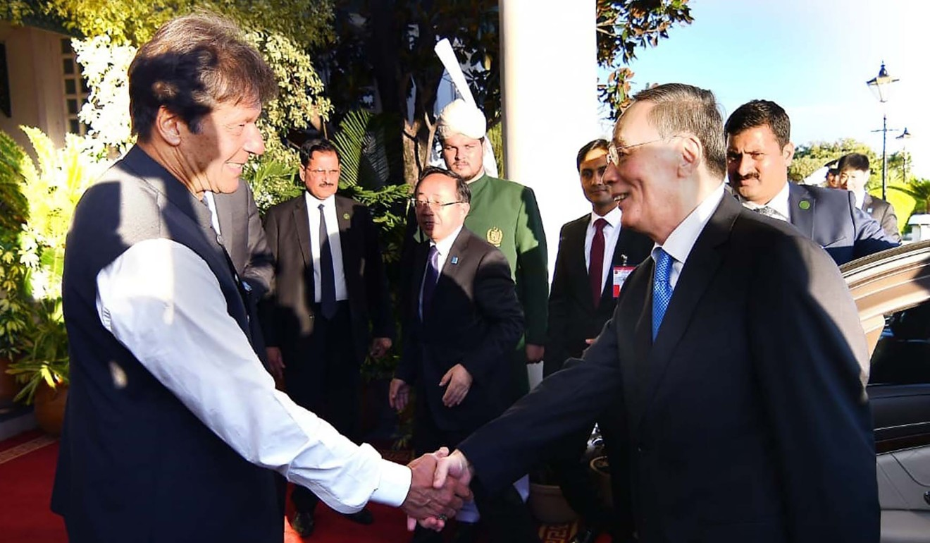 Pakistani Prime Minister Imran Khan meets Chinese Vice-President Wang Qishan in Islamabad on Sunday. Photo: AFP