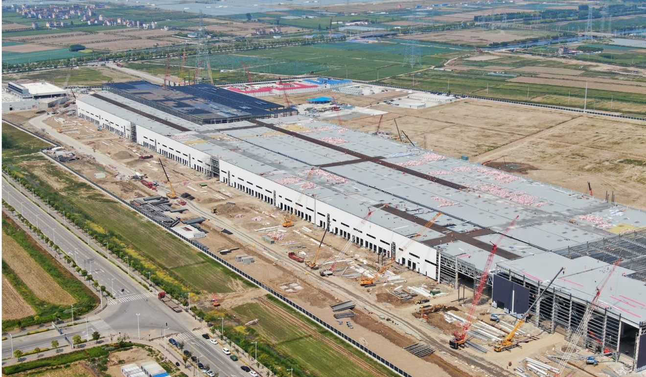 Aerial view of the Tesla Shanghai Gigafactory under construction in Lingang, Shanghai, on May 10, 2019. Photo: Imaginechina