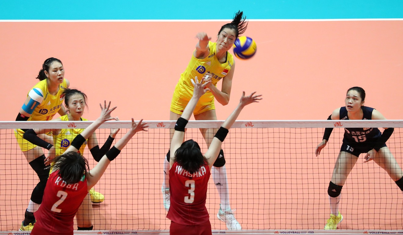 Zhu Ting spikes for a point against Japan at the 2019 Volleyball Nations League in Hong Kong. Photo: K. Y. Cheng