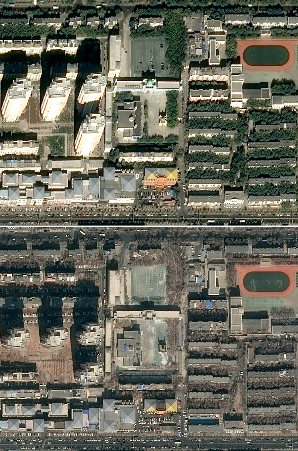 Satellite images from 2014 (top) and March this year show the disappearance of the dome of the Karamay West Mosque in Xinjiang. Photo: AFP/ Distribution Airbus Defence and Space/ CNES 2019/ Produced By Earthrise