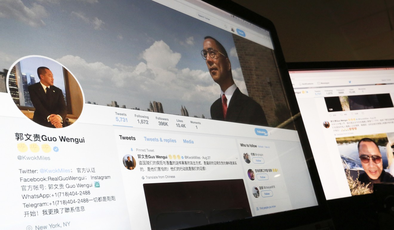 A Twitter page of Chinese exiled businessman Guo Wengui is seen on a computer screen in Beijing. Photo: AP Photo