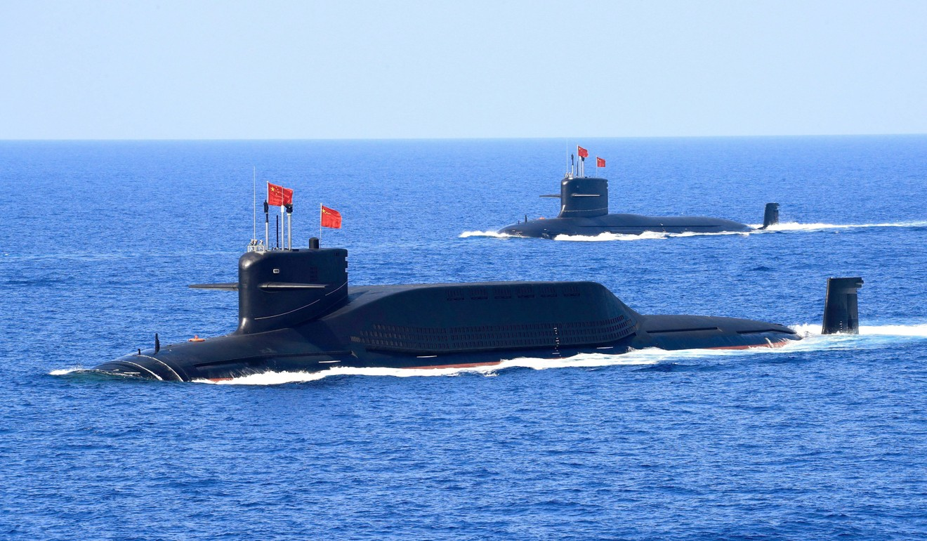 Nuclear-powered PLA Navy ballistic missile submarines in the South China Sea. Photo: Reuters