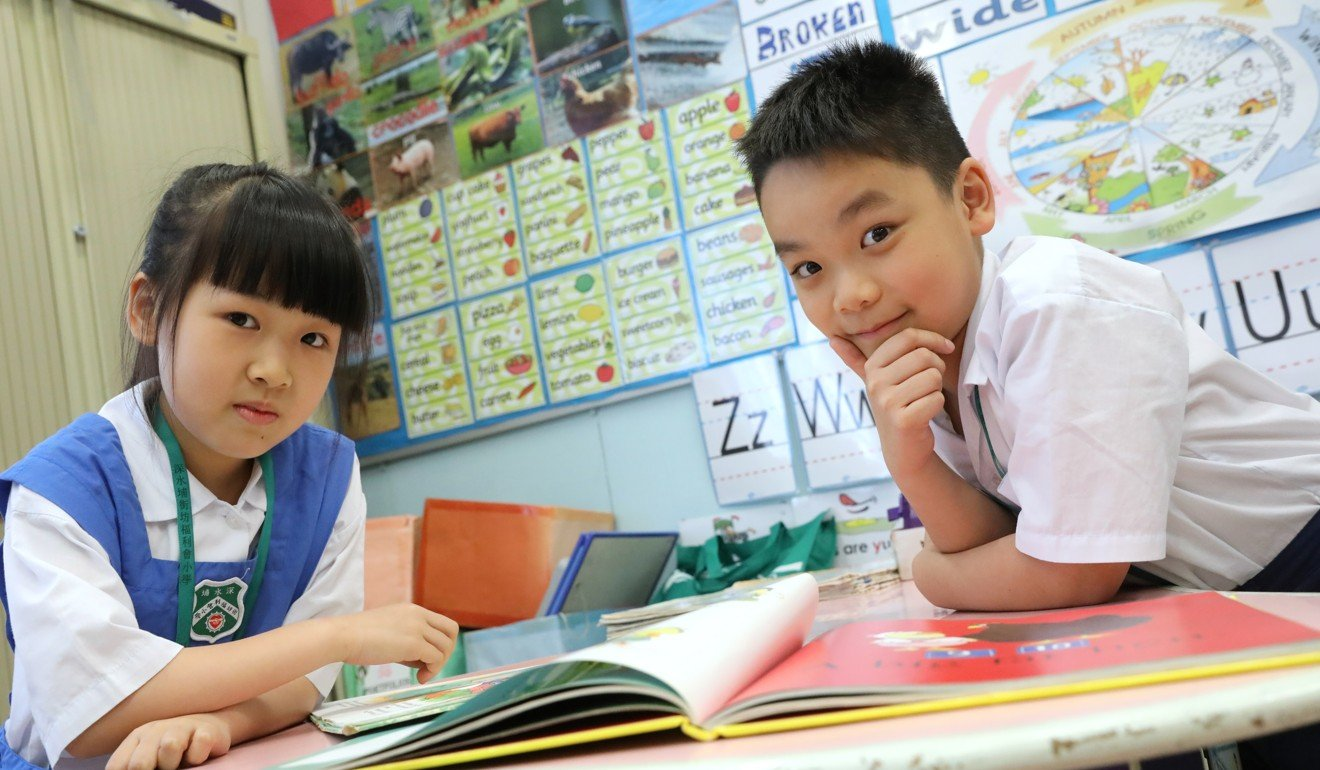 Primary Three students Shakira Liao (left) and Adam Li Yu-wa after taking the TSA, at Kaifong Welfare Association Primary School in Sham Shui Po. Photo: K. Y. Cheng