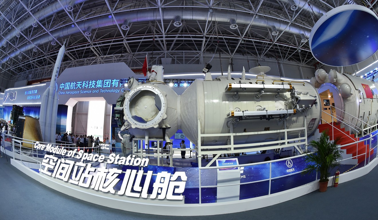 A full-size model of the core module of China's space station goes on show at Airshow China in November. Photo: Xinhua